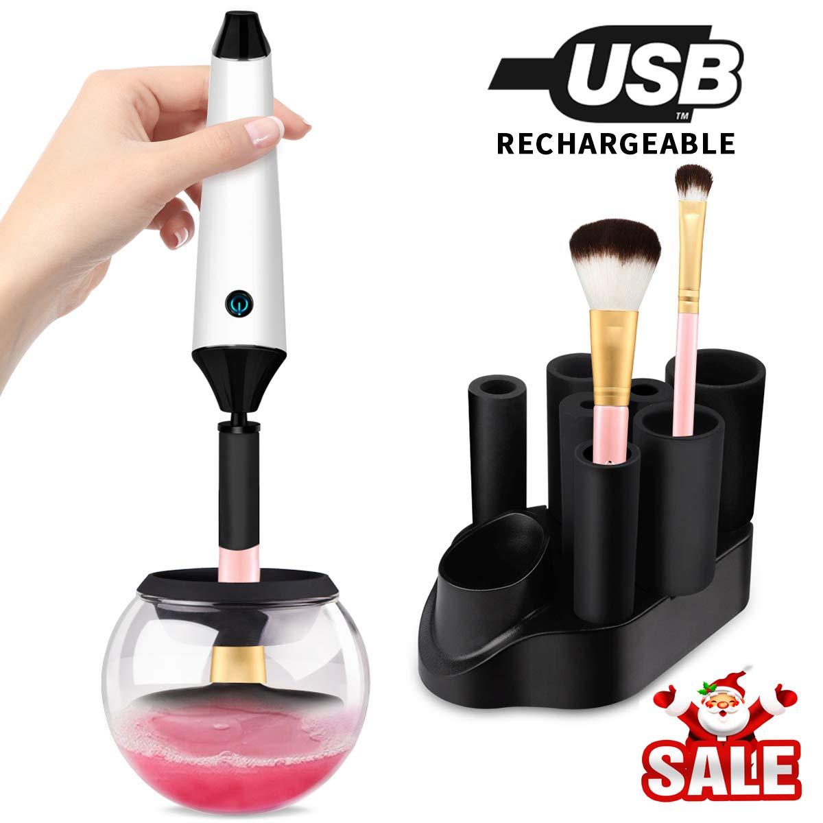 Nettoyant Pinceaux Maquillage, Morpilot Nettoyeur Brosse Maquillage RECHARGEABLE - nettoyer ou sécher des pinceaux cosmétiques en second