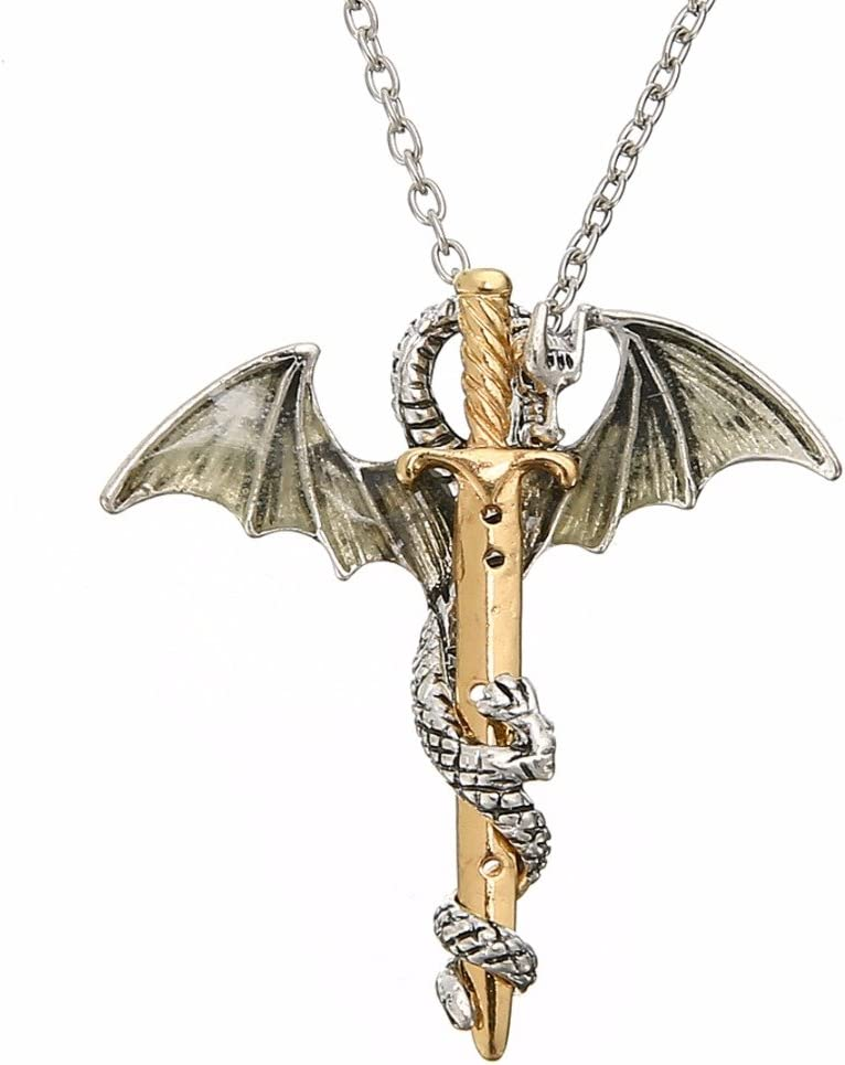 Luminous Dragon and Sword Necklace