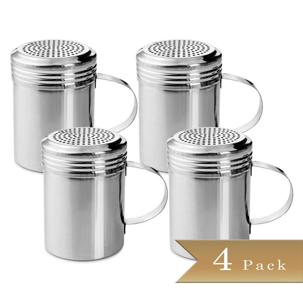 TrueCraftware Set of 4 - Stainless Steel Dredge Shakers with Handle - 10 Ounce