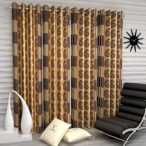 Fashion String 4 Pieces Window Curtain Set, 5 feet Long,Brown