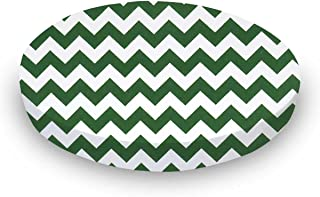 product image for SheetWorld Fitted Oval Crib Sheet (Stokke Sleepi) - Hunter Green Chevron Zigzag - Made In USA