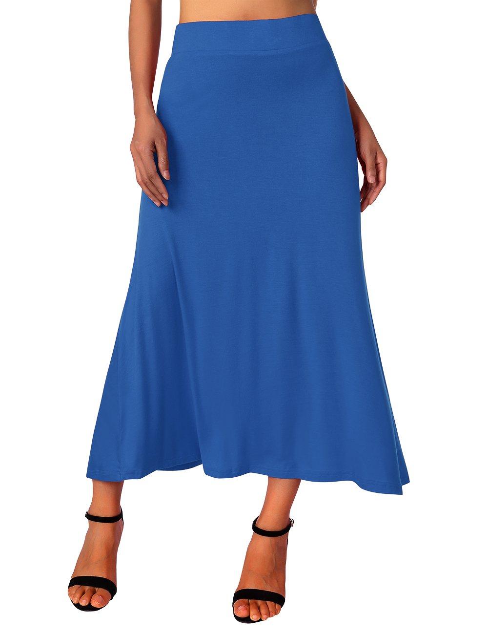 DJT High Waist Solid Color Skirt, Women's Summer Elastic Sretchy Hosiery Full Length Shirring Maxi Skirt Blue M