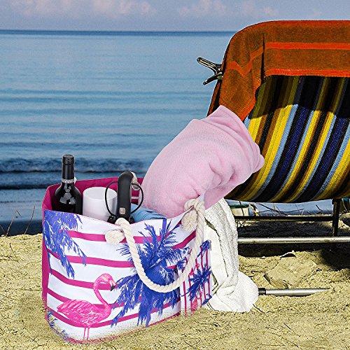 Sac Zip Vacances de Avec sac Plage Tout Fourre Grand ZWOOS Pochette 707xrqgw