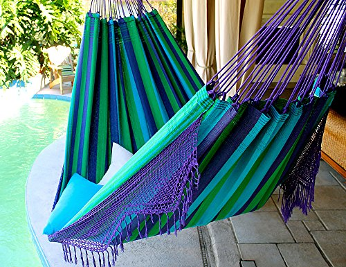 Wild Blueberry – Fine Cotton King Size Hammock with Croche Fringe, Made in Brazil