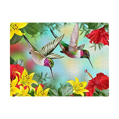 Personalized Birds Hummingbird Red Hibiscus Yellow Lily Puzzles Rectangle Jigsaw Puzzle with Funny Picture Art for Adults Children Wedding Anniversary Birthday A3 Size 252 Pieces: Toys & Games