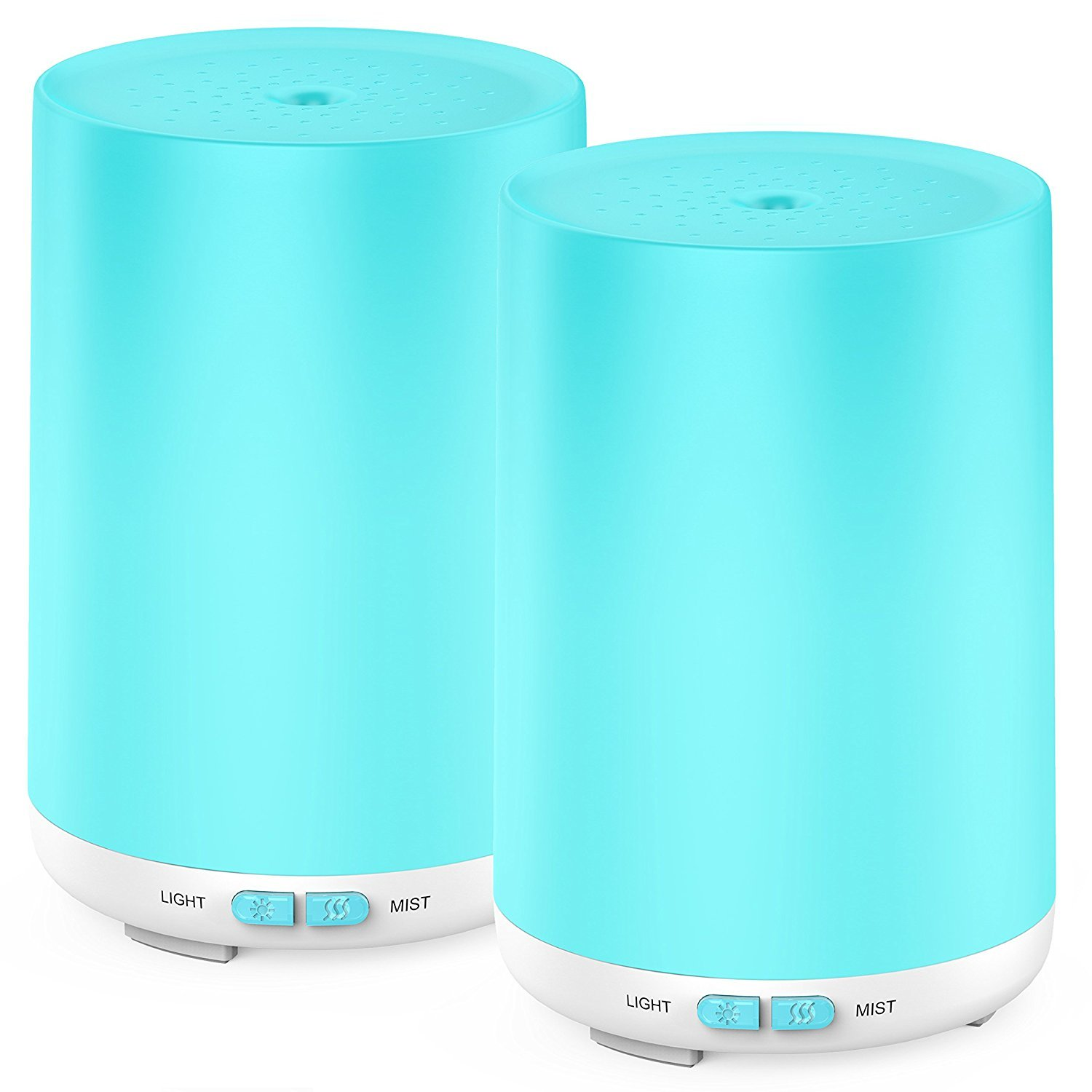 Leknes Essential Oil Diffuser, 120ml Diffuser with 2 Pack Aromatherapy Diffuser Portable Ultrasonic Cool Mist Humidifier with Mist Mode Adjustment,7 LED Colors and Waterless Auto Shut-Off for Home