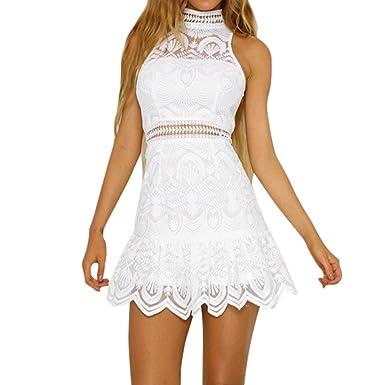 a7d0e7f4380 IMJONO Mode Femmes Robe Été Chic Dentelle sans Manches Dos Nu Mini Blanc  Robe Soir Fête Plage Mini Robe  Amazon.fr  Vêtements et accessoires