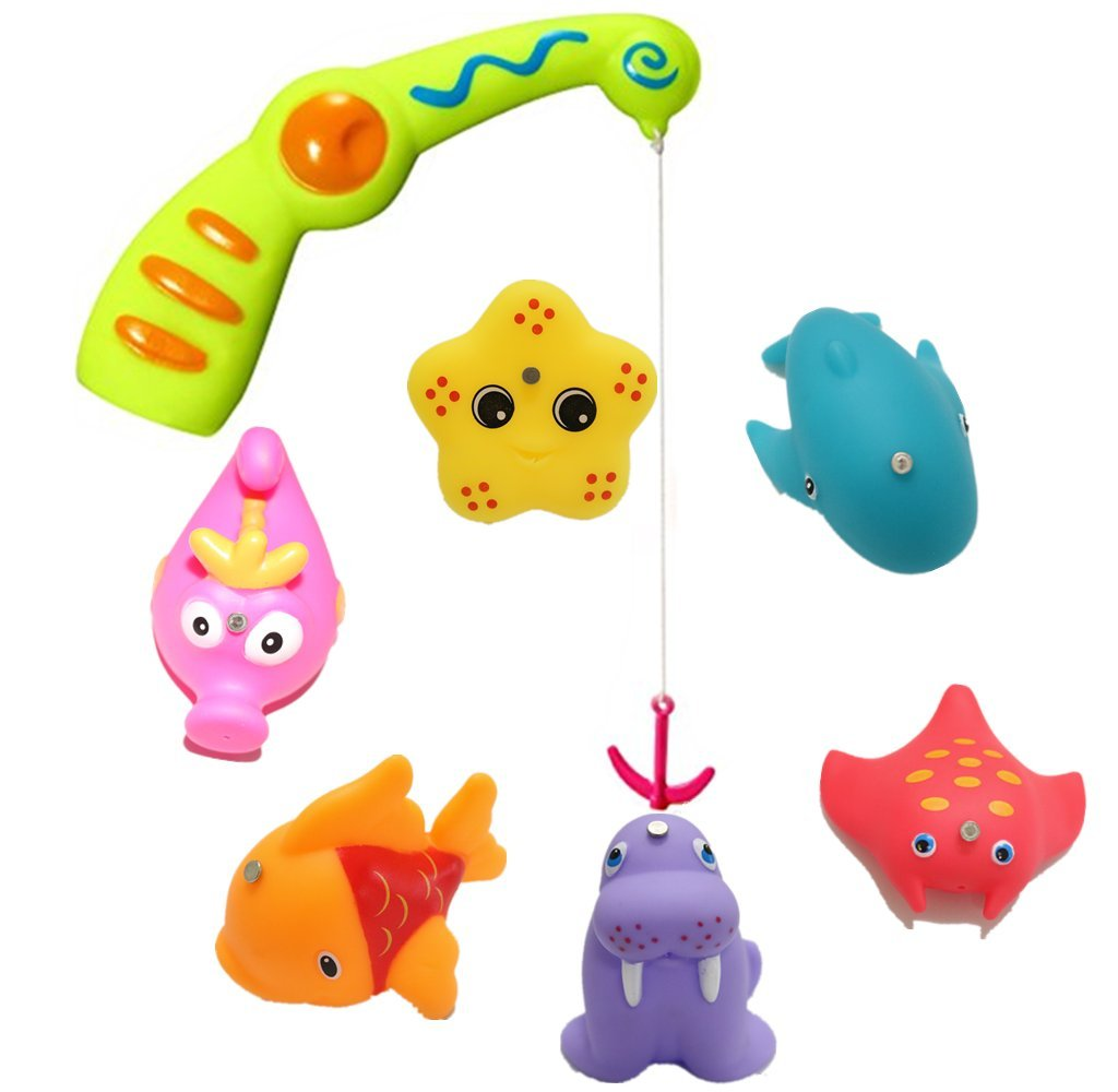 Baby Fishing Bath Toy, Kids Toddlers Water Toys Fishing Game with A Magnetic Fishing Rod, 6 Sea Characters and A Mesh Storage Bag YOTIPP