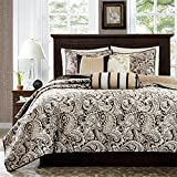Madison Park Aubrey Full/Queen Size Quilt Bedding Set - Black, Champagne, Paisley Jacquard – 6 Piece Bedding Quilt Coverlets – Ultra Soft Microfiber Bed Quilts Quilted Coverlet
