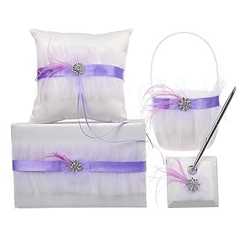 Remedios (6 colores) para Net boda flores niña cesta Anillo Portador ...
