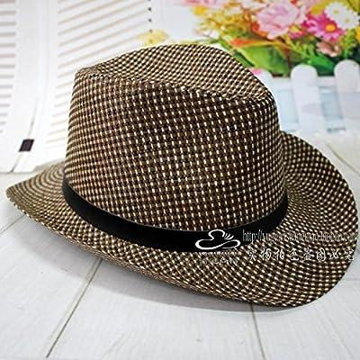 HGTYU-a chapeau de paille le chapeau de cow - boy et chapeau de loisir de plein air a chapeau à large bord chouette chapeau taille (57-59cm)
