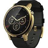 【第2世代】Moto 360 2nd Gen 2015 Smart Watch スマートウォッチ 腕時計 Android Wear iOS対応 (男性用 46mm ゴールド ブラックレザーバンド)