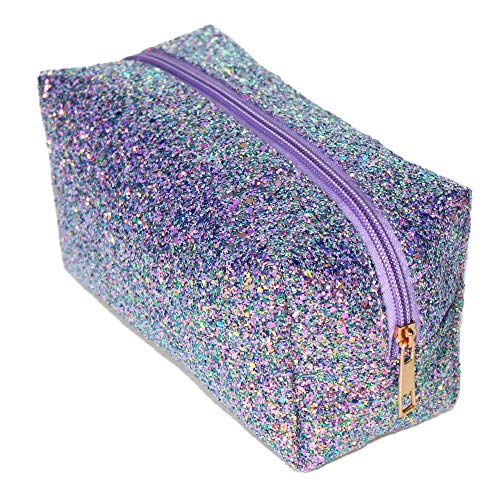 Glitter Makeup Bag Organizer Portable Cosmetic Pouch Travel Brush Holder Handbag with Gold Zipper Pencil Storage Case for Women Purse (Glitte -