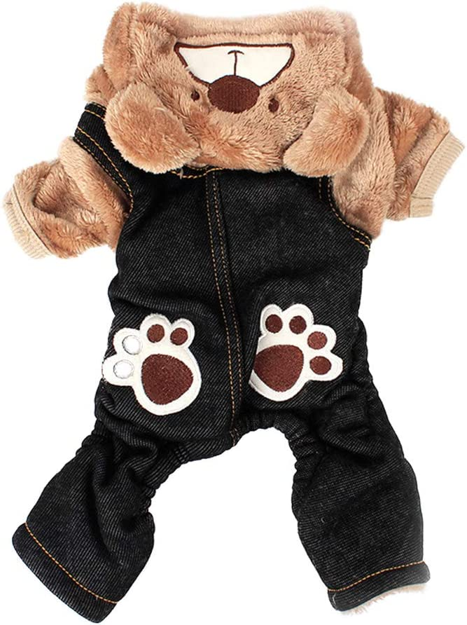 POPETPOP Pet Dog Cat Clothes Warm Winter Coat Bear Paw Printed Hoodie Jumpsuit Four Leg Clothing Costumes for Small Medium Dogs Size XS Gray