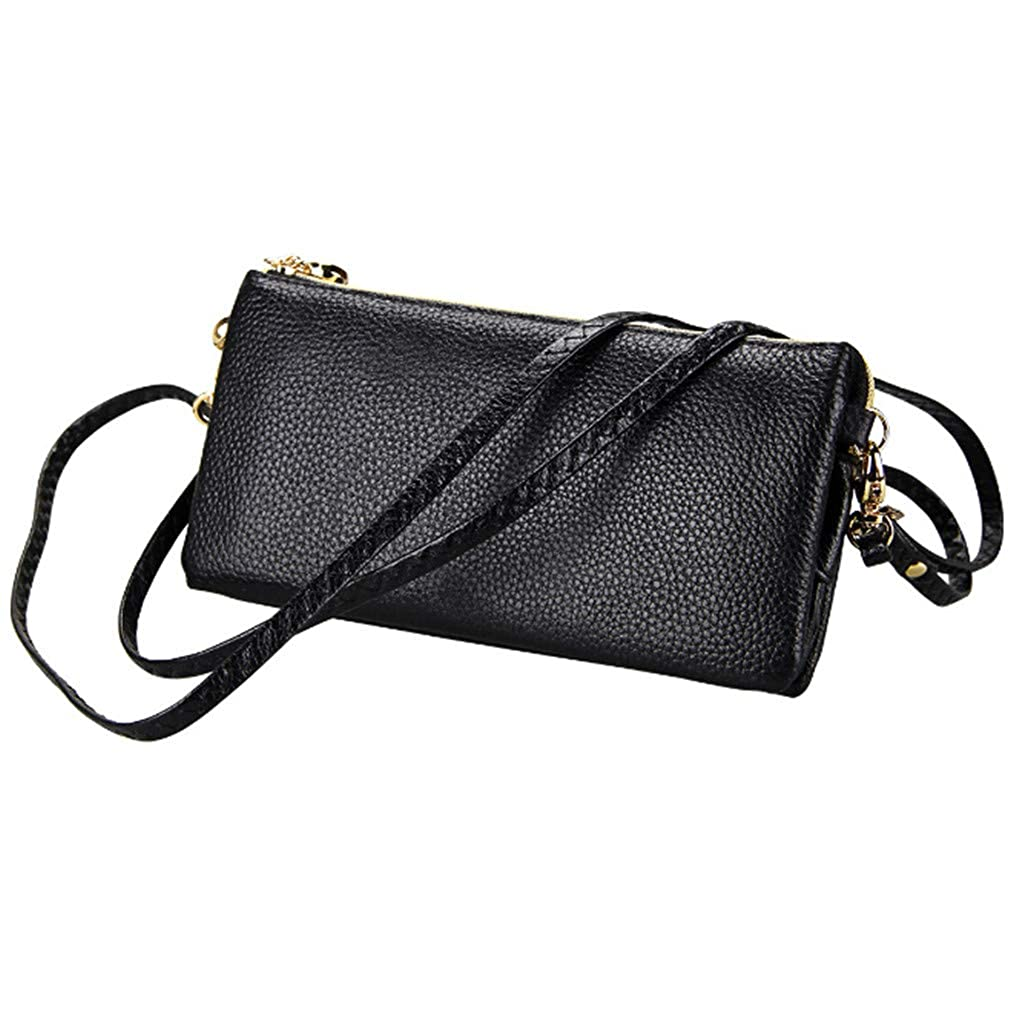 2b7128b713 Youngate RFID Safe Long leather one-shoulder messenger bag for womens(black)  at Amazon Women s Clothing store