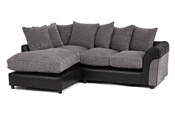 Abakus Direct Harvey Jumbo Cord Corner Group Sofa Right and Left in Grey  and Black Fabric (Grey Left)