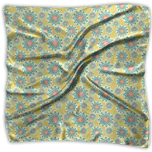 (Bandana Head and Neck Tie Neckerchief,Abstract Dotted Floral Arrangement Blossoming Nature Spring Season Swirls,Headband)
