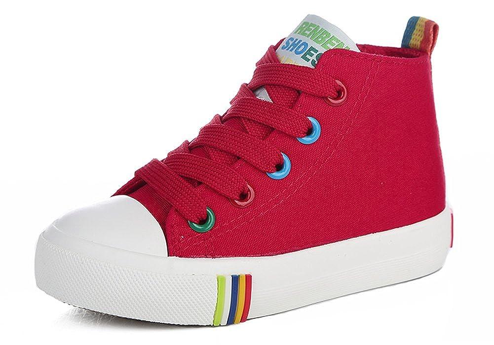 iDuoDuo Kids Rainbow School Tennis Shoes High Top Side Zipper Skate Sneakers (Toddler/Little Kid/Big Kid)