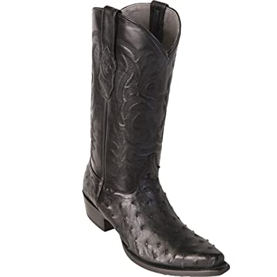 Original Black Ostrich Leather Snip-Toe Boot