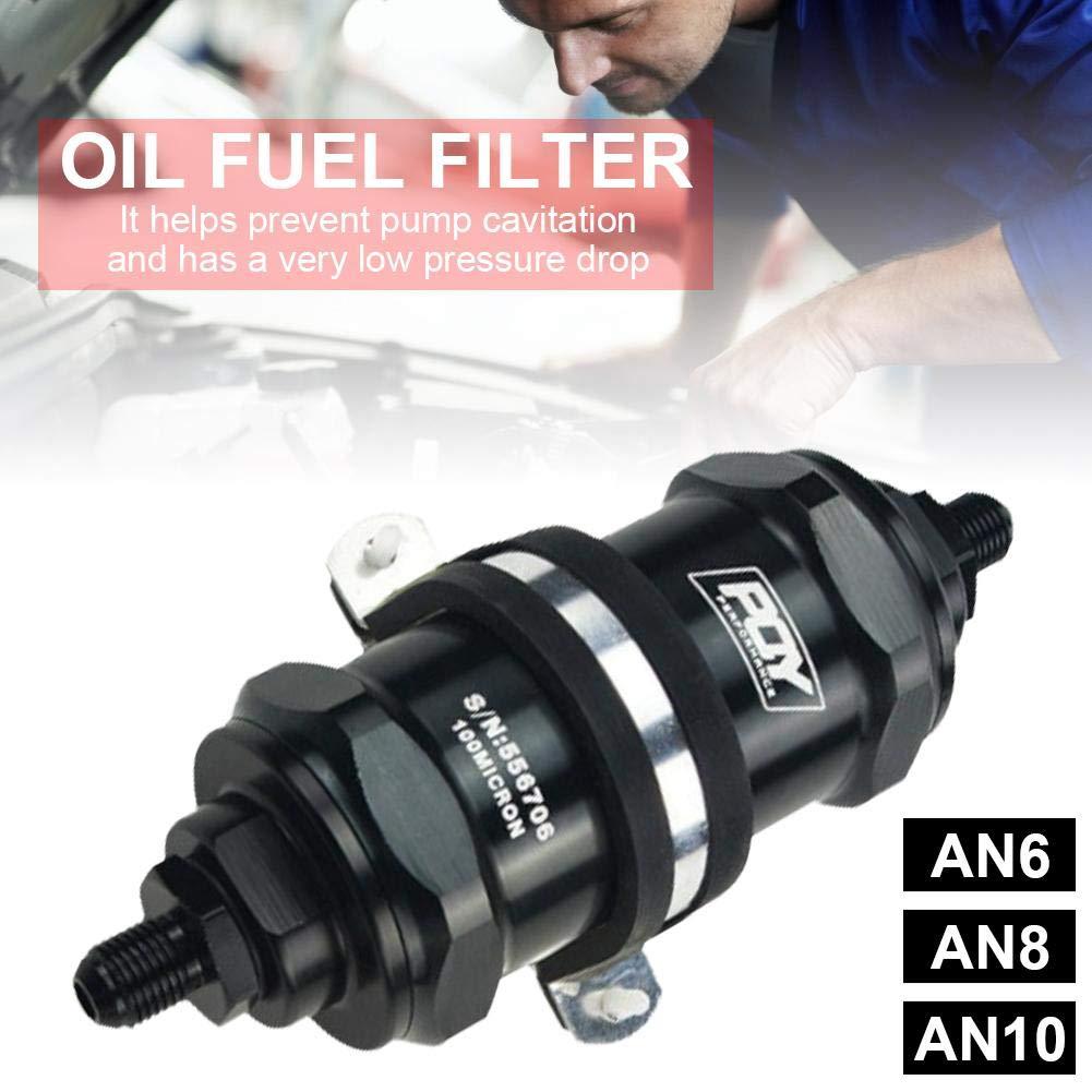AN8 Filtre /à Carburant Huile Filtre /à Essence en Ligne E85 PQY Noir AN6 AN10 avec Filtre en Acier Inoxydable 100 microns Compatible pour VR Racing