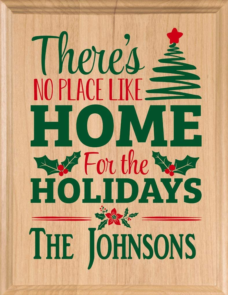 Broad Bay Christmas Family Sign Personalized Wall Décor No Place Like Home for The Holidays Custom Handmade Art