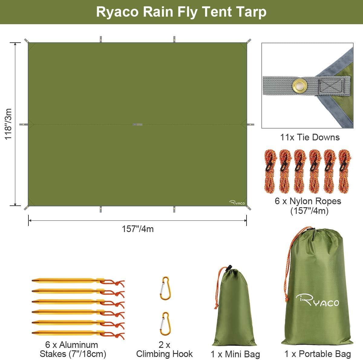 Ryaco Toldo de Refugio Impermeable 3M*3M, Hamaca Tienda de ...
