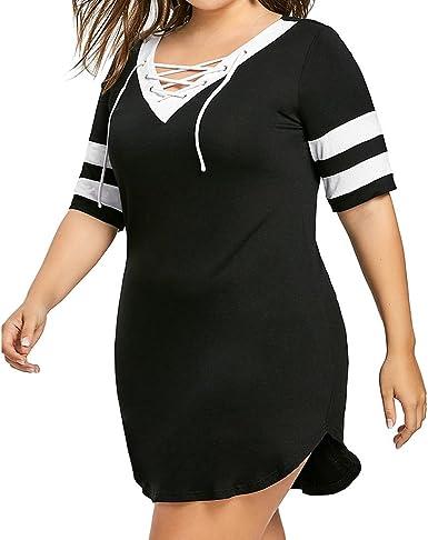 Lenfesh Vestido Cortas con Cuello en V para Mujer Vestido Camisero a Rayas Vestido Sudadera de Manga Corta Camisa Larga Casual: Amazon.es: Ropa y accesorios