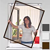 Mosquitera con marco de aluminio para ventanas - 120 x 140 cm - marrón