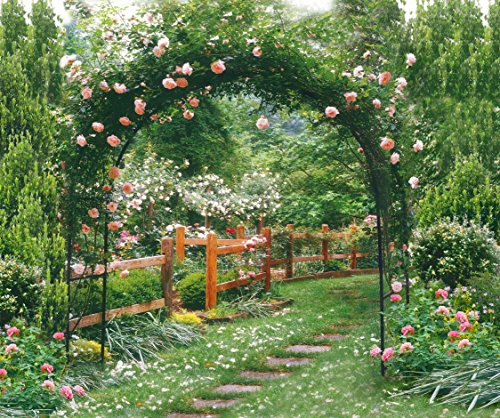 Spring Summer Garden Backdrop Photography Pink Flowers Floral Green Plants Arch Door Background for Photo Studio 10x8 ft -