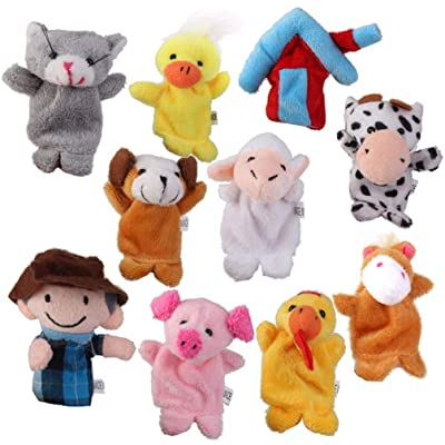 NUOBESTY 10pcs Animal Hand Puppets Glove Puppet Toy Role Play Stuffed Plush Animal Toys for Imaginative Play Birthday Party Favor Supplies: Beauty