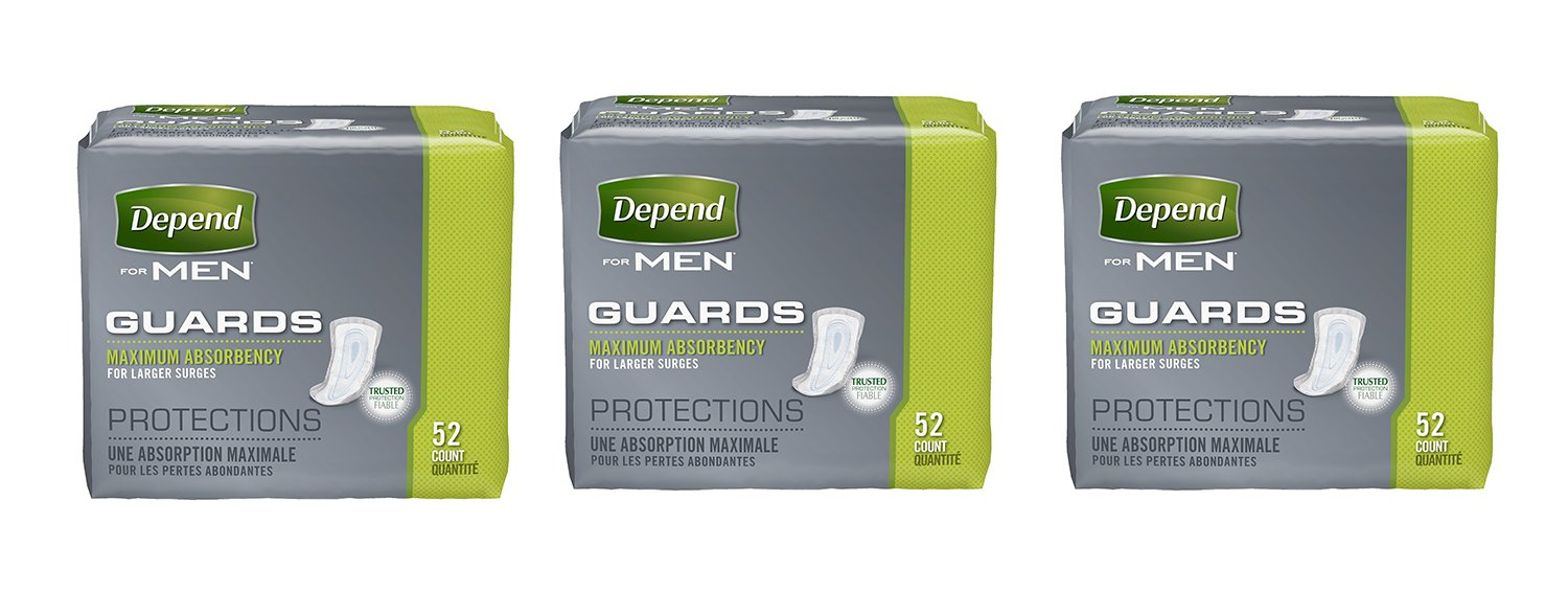 Depend Incontinence Guards for Men, Maximum BllgS Absorbency, 52 Count (3 Pack)