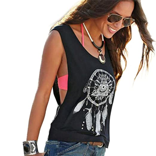 cb07954dafb80 2019 Sexy Women s Dreamcatcher Printed Sleeveless Tank Tops Blouse Vest  T-Shirt by E-