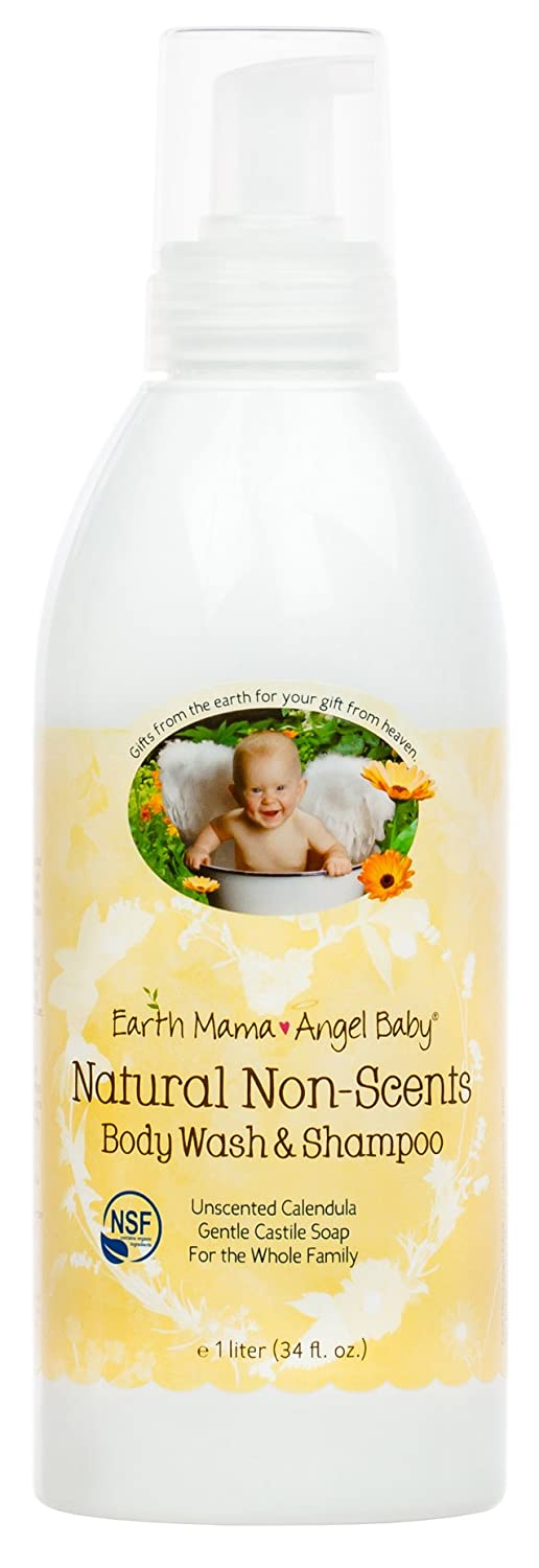 Earth Mama Natural Non-Scents Baby Wash Gentle Castile Soap for Sensitive Skin, 34-Ounce