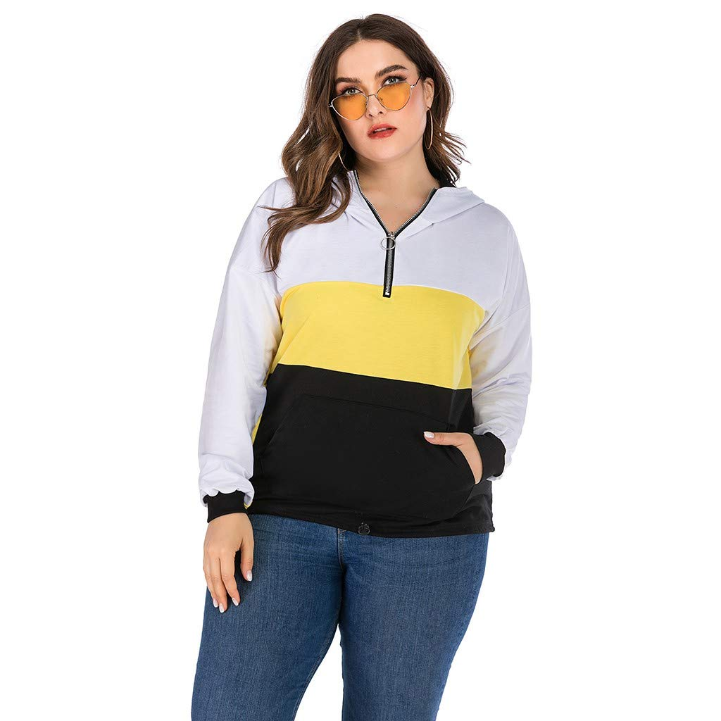 Women Autumn Winter Large Size Stitching Round Neck Stitching Zip Hooded Tops by Badymin