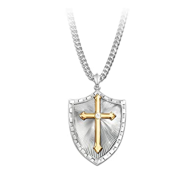 Necklace strength in the lord mens shield cross diamond pendant necklace strength in the lord mens shield cross diamond pendant necklace by the bradford exchange aloadofball Images