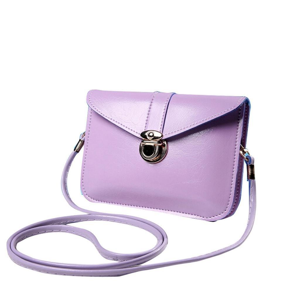 Clearance! Nevera Women Purse Leather Shoulder Messenger Handbag Crossbody Bags (Purple H)