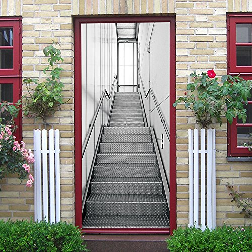 MISSSIXTY 3D Metal Stairs Door Wall Mural Wallpaper Stickers Vinyl Removable Decals for Home Decoration 30.3