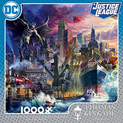 Ceaco Thomas Kinkade DC Collection JL Showdown Gotham Pier Jigsaw Puzzle, 1000 Pieces: Toys & Games