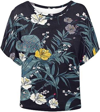 INTERESTPRINT Blusa con Estampado de murciélagos y Palmeras Tropicales para Mujer - Multi - XX-Large: Amazon.es: Ropa y accesorios