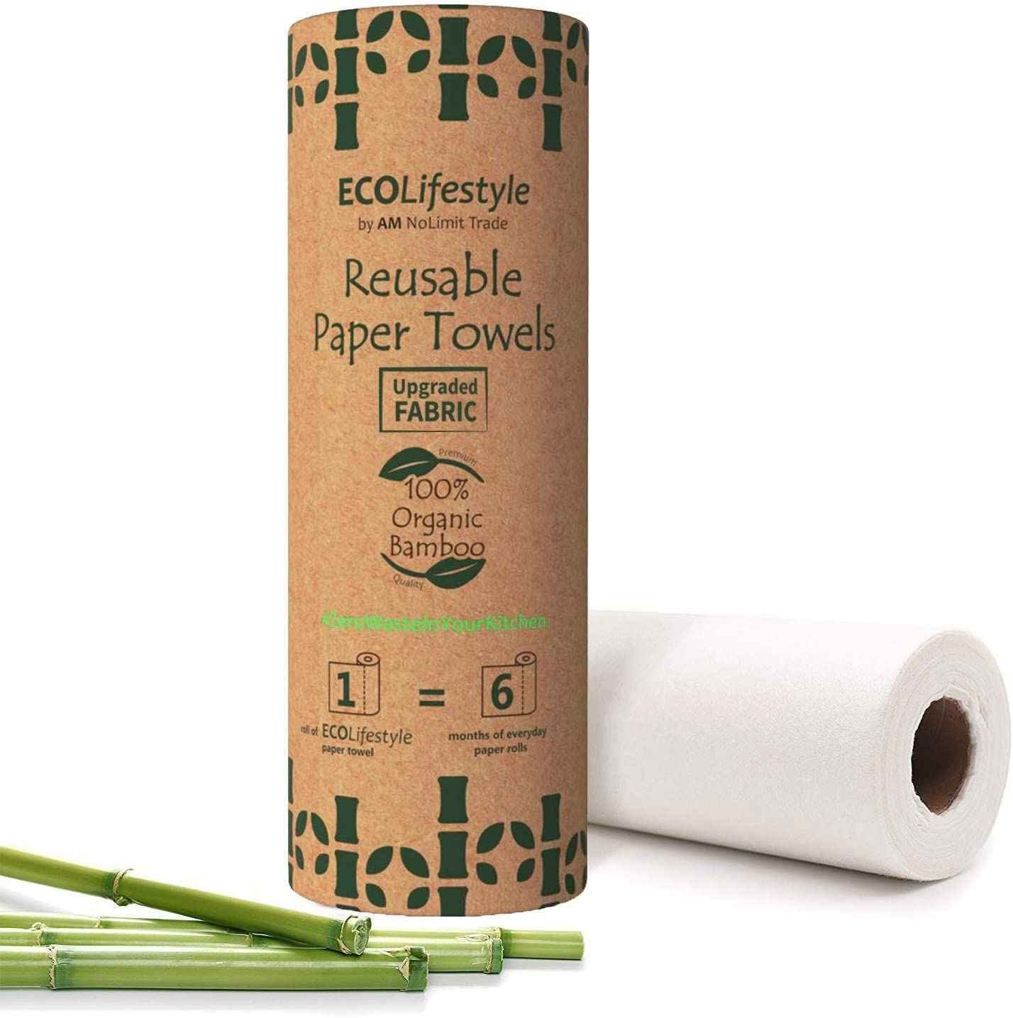 Bamboo Reusable Paper Towels (20 Sheets) Zero Waste Unpaper Towel Eco Friendly Products Sustainable Gifts - Kitchen Cleaning Rolls Alternative - Paper Towels Bulk Recycled Washable Napkins Cloth