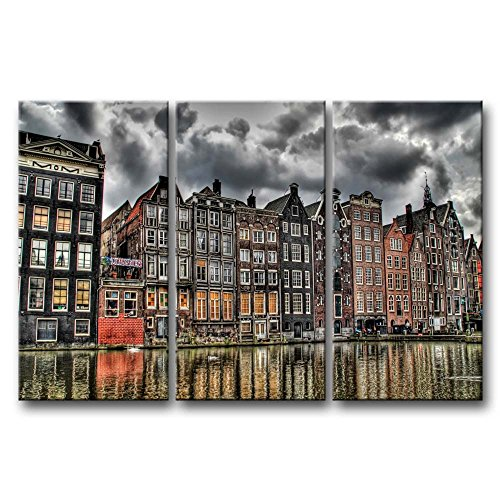 So Crazy Art 3 Pieces Wall Art Painting Amsterdam By The River Pictures Prints On Canvas City The Picture Decor Oil For Home Modern Decoration Print For ()