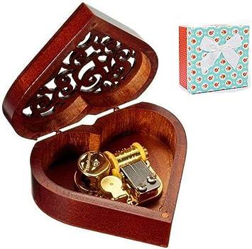 Cuzit - Caja de música de madera con forma de corazón, regalo para ...