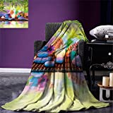 smallbeefly Spa Digital Printing Blanket Stones with Candles Spiritual Eastern Yoga Relaxation Meditation Chakra Bamboos Print Summer Quilt Comforter Multicolor