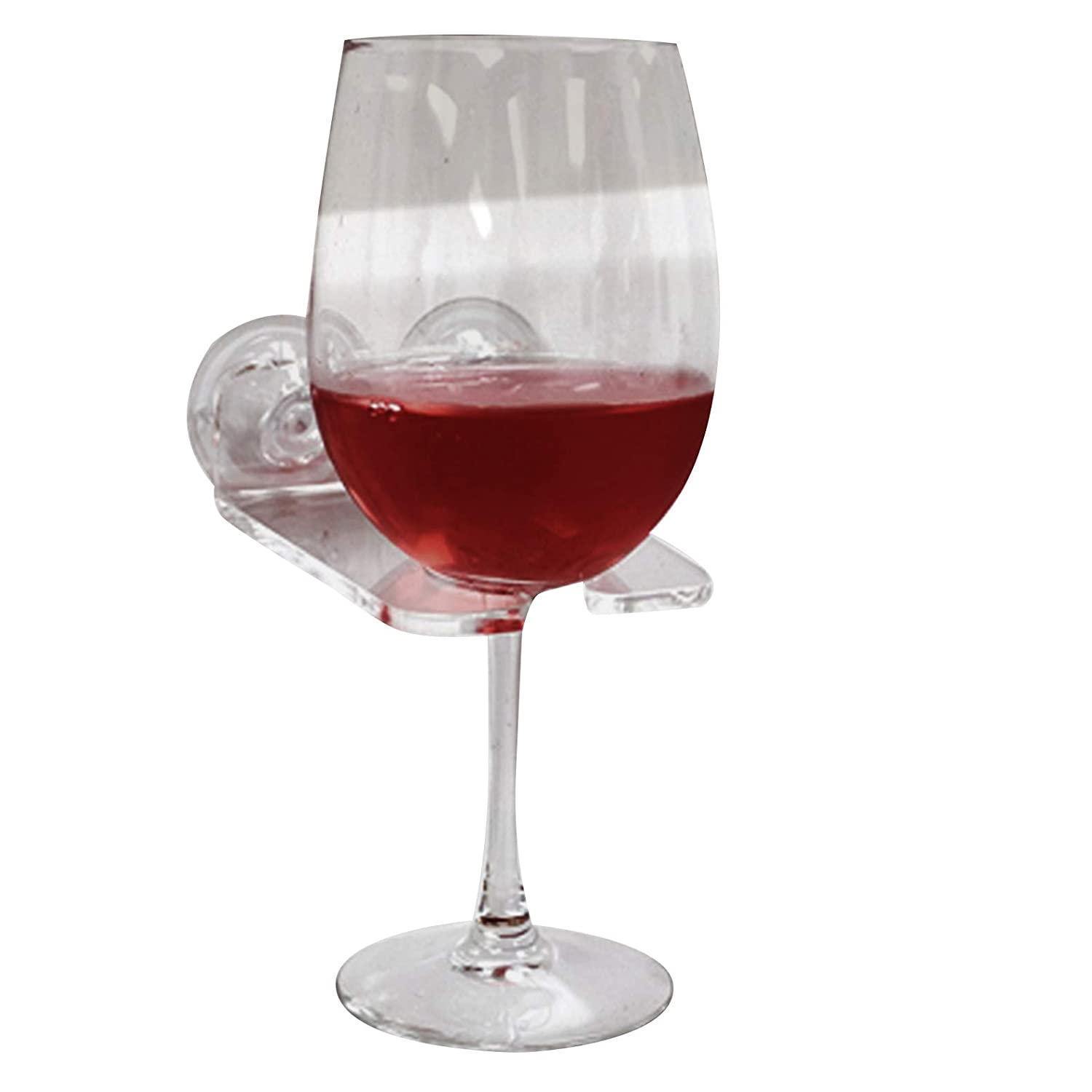 House Ur Home Bathtub Wine Glass Cupholder. Caddy Shower & Relax Bath with Powerful Strong Suction Cups,(1),Clear Acrylic (1)