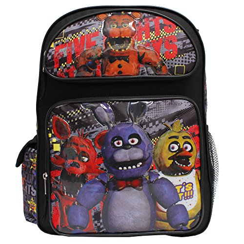 Five Nights At Freddy's New Vibrant Black Large Boys' School Backpack by AI