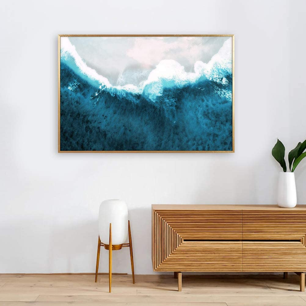 """MOTINI Wall Art Ocean Wave Print 23.62"""" x 35.43"""" Framed Abstract Painting Art Print Wall Decor on Acrylic Board Photograph Modern Art Blue Artwork for Office, Living Room, Bedroom, Kitchen"""