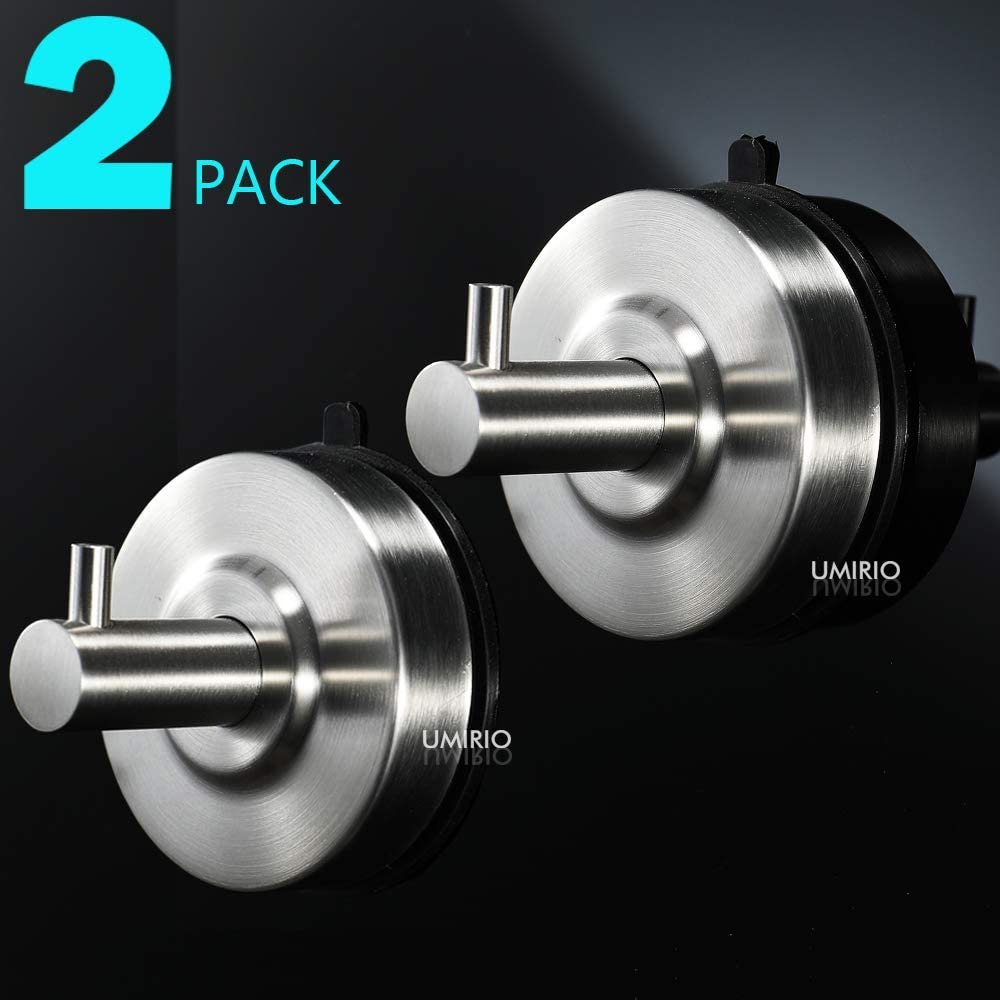 UMIRIO Shower Suction Cup Hooks (2 Pcs) Bathroom Towel Hooks for Hanging Wall Hooks Suction Hangers and Hooks Heavy Duty Coat Robe Hook Shower Holder Bathrobe Hangers,SUS 304 Stainless Steel,Brushed