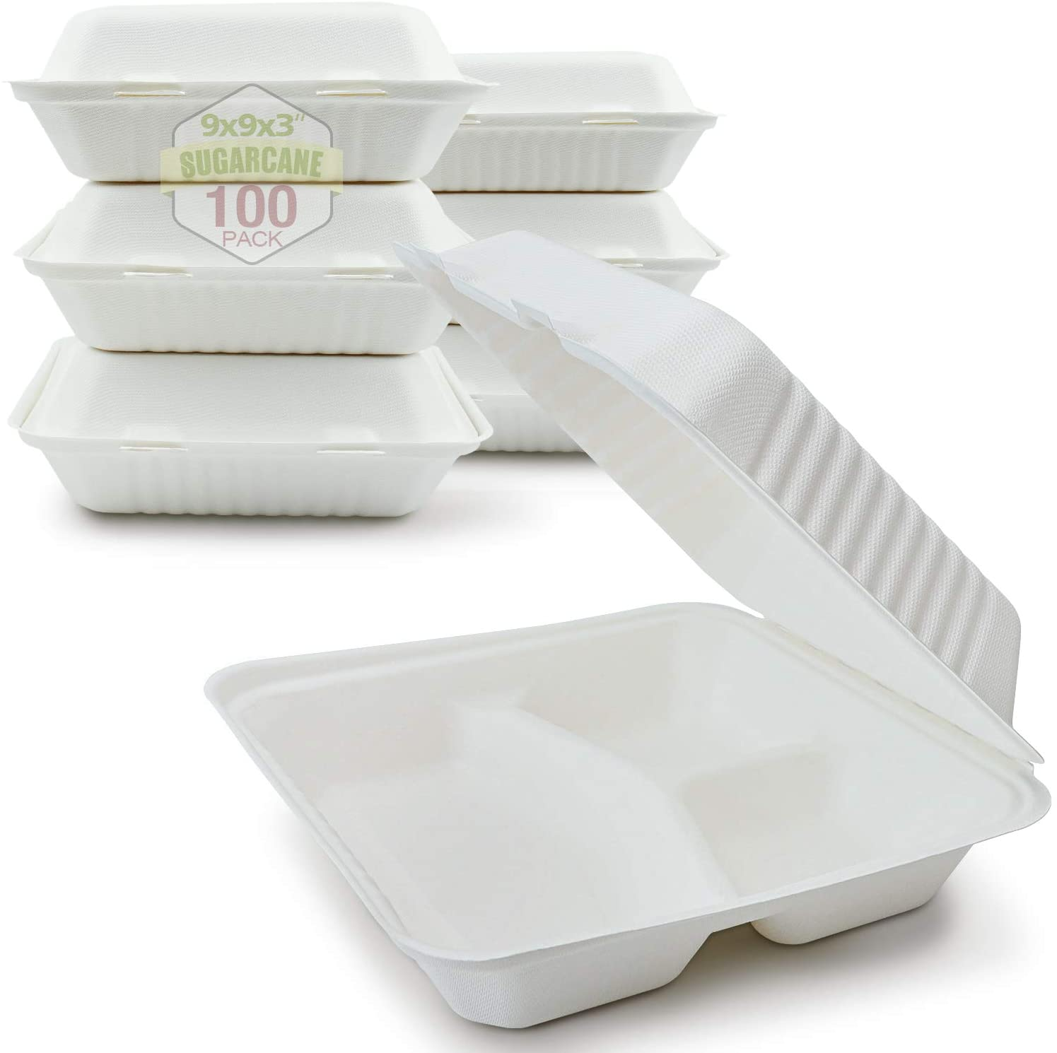 Green Earth 9-Inch, 100-Count, 3-Compartment, Compostable Clamshell, Natural Bagasse (Sugarcane Fiber), Take-Out/to-Go Food Boxes - Biodegradable Containers, Hinged Lid - Microwave-Safe - Gluten-Free