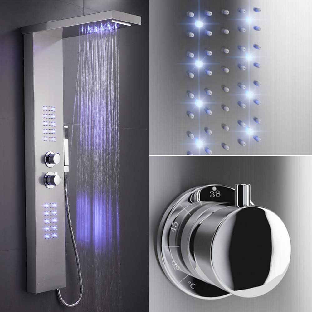 Panel de Ducha con Iluminación LED Púrpura, Control de Termostato, Ducha de Mano, Mampara de Bañera para Baño/Hotel/Gimnasio (125x22cm, Purple LED): Amazon.es: Bricolaje y herramientas