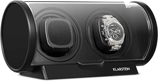Klarstein Lugano - Estuche para Relojes, 2 Relojes, Relojes automáticos, 4 Modos Diferentes rotación, Bajo Consumo, Gran ventanilla Transparente, Gira ambas direcciones, Negro: Amazon.es